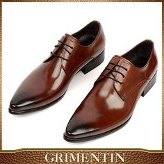 GRIMENTIN Fashion Italian designer formal mens dress shoes genuine leather black luxury wedding shoes men flats office for male