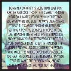 Meaning of sisterhood. You don't have to go Greek to get the same kind of sister or brotherhood. P/R SCOONEY