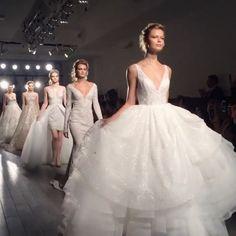 Which of these showstoppers? #thankyou @serendipitybridalaustin #jlmpressshow #bridesofaustin #lazarosp17 #style3703 #style3714 #jlmboutiqueexclusive #lazaroexclusive #cinderelladress #champagne #style3715 #tarakeelybylazaro @tara_keely #style3701 #style3716 #style3717 #runwayshow #weddinggowns #lazarobridal #models #lazaro