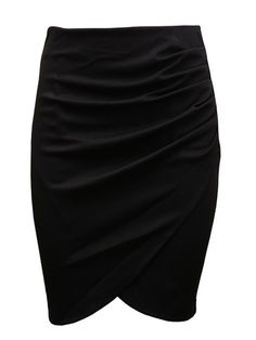 Love the Draping! Sexy Black Wrap Pencil Skirt with Ruched Detail #Sexy #Black #Skirt #Fashion