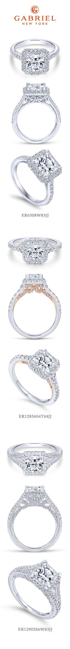 Gabriel NY - Preferred Fine Jewelry and Bridal Brand. Top 3 Princess Cut Engagement Rings. Ranging from princess cut halo wedding rings to a hint of rose gold and split shank.