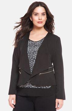 d08dc78ae79 Zip Detail Open Front Crepe Jacket (Plus Size)
