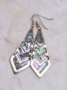 Abalone shell earrings  Mexican silver earrings  by SumertaDesigns