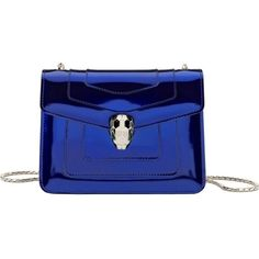 BVLGARI Serpenti Forever metallic-leather shoulder bag ($1,785) ❤ liked on Polyvore featuring bags, handbags, shoulder bags, royal sapphire, metallic leather handbags, blue purse, genuine leather purse, shoulder strap bags and metallic purse