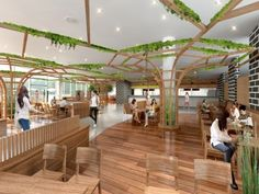 Sangju dried persimmon theme exhibition hall / 상주 곶감테마박물관 Tree Interior, Interior Design, Electrical Stores, Pillar Design, Green Office, Co Working, Museum Exhibition, Pergola, Outdoor Structures