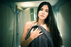 Naked girl in shower holding towel front of her. Girls In Shower, Portrait Photography, Naked, Towel, River, Fashion, Moda, Fashion Styles, Fashion Illustrations