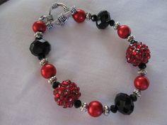 "Vintage Inspired Red and Black Bracelet, Red and Black Beads, Bracelet Jewelry, Beaded Jewelry, Beaded Bracelet, Christmas Gift, Size 6.5"""