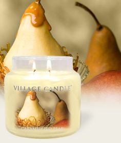 NEW!!! Caramelized Pear – Premium Round Collection-  Scented Candles | Village Candle