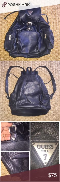 Guess Black Leather Backpack Silver Hardware Vintage 90's Gently worn has small nic on bottom and small scratches on clasp Guess Black Leather Backpack Silver Hardware Guess Bags Backpacks