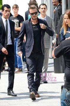 David Beckham Casually Attends The Louis Vuitton Menswear Show In Paris
