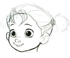 Зарисовки портретов маленьких принцесс Анны и Эльзы