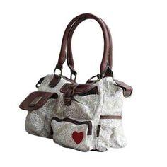 Cotton Road Handbag with Crest Pattern