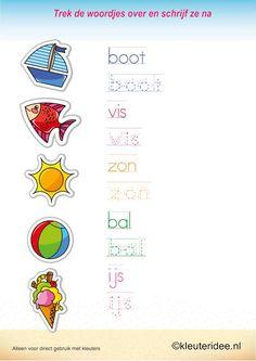Trek de woordjes over en schrijf ze na , kleuteridee.nl , taal voor kleuters, thema zomer , free printable.
