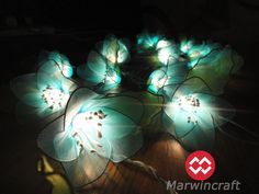 20 Blue Rain Lilly Flower Fairy String Lights Hanging Wedding Gift Party Patio Wall Floor Garden Bedroom Home Accent Floral Decor 3m