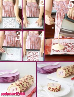 "It's in Spanish, but she essentially made a ""swiss cake roll"" with a thin sheet of cake and filling. the ""piping"" is the design on the outside of the cake roll. Cake Decorating Techniques, Cake Decorating Tutorials, Cookie Decorating, Decoration Patisserie, Recipe Steps, Rolls Recipe, Cake Tutorial, Baking Tips, Diy Food"