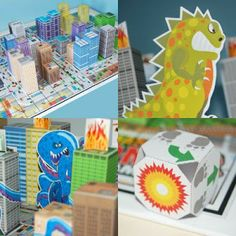 Tektonten Papercraft - Free Papercraft, Paper Models and Paper Toys: Printable Monster Rampage Board Game