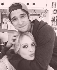 Cute pic of Tyler Posey and Gage Golightly on the set of Teen Wolf
