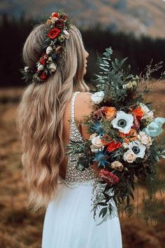 Bohemian fall wedding in the Mountains. Wedding bouquet made with wild, fresh flowers in fall colouring. White Chiffon Long Wedding Dress with White Pearls, Summer Wedding Dress Boho Wedding Dress Fall Wedding Bouquets, Floral Wedding, Wedding Colors, Boho Wedding Flowers, Elegant Wedding, Boho Flowers, Flower Crown Wedding, Rustic Flowers, Wedding Rustic