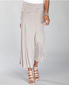 INC International Concepts Skirt, Convertible Metallic-Stripe Maxi small to medium