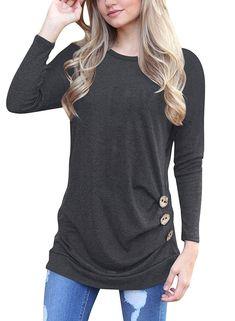 21d12617e49 Womens Long Sleeve Blouse Button Decor Casual Loose Tunics T-Shirt Tops  Women - Gray - CK1897QZDU4