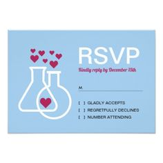 Modern Chemistry Heart Wedding RSVP Card Custom pretty themed - Make your wedding day super special with these pink bridal and items Wedding Rsvp, Wedding Pins, Wedding Details, Wedding Invitations, Chemistry Jokes, Chemistry Wedding, Wedding Response Cards, Invitation Cards, How To Plan