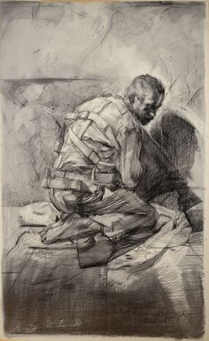 """JEROME PAUL WITKIN (American b.1939) """"Study (with model) for portrait of Vincent Van Gogh 1988"""" Charcoal on paper Estimate: $1,500/2,000 To be offered in the October 6 Estate Auction at Michaan's..."""