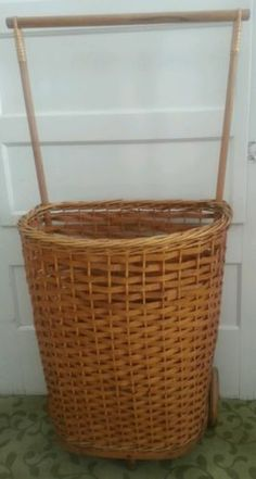 Antique Rolling Wicker Shopping Farmers Market Cart Rare Ebay Wicker Farmers Market Antiques