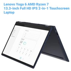 """Introducing brand new Lenovo Yoga 6 empowered by AMD Ryzen 7 latest gen processor. It is engineered to fold by 360 degrees to experience different views in different situations. SPECIFICATIONS: 13.3"""" Full HD 1920x1080 display AMD Ryzen 7 processor uppto 4.1 Ghz 16 GB DDR4-3200 RAM 512 GB SSD Integrated AMD Radeon Graphics Blue Fabric, Computer Accessories, 2 In, Laptops, Convertible, Surface, Graphics, Yoga, Display"""