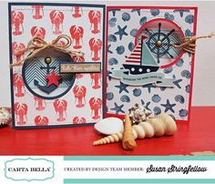 """Ahoy There"" card set featuring the ""Ahoy There Designer Stamp Set"" by Susan Stringfellow. #cartabellapaper"