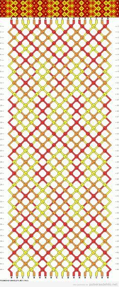Patrón diagrama de rombos o diamantes, pulsera de macrame