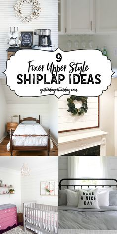 9 Fixer Upper Style Shiplap Ideas for the kitchen, kid's rooms, bedroom, entry, living too and more! shiplap | fixer upper | modern farmhouse | decor | decorating
