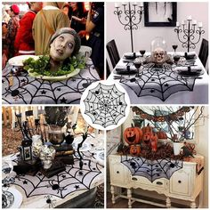 Halloween Party Black Lace Spiderweb Table Cloth Table Covers Window Hanging Horror Halloween Party Decoration - first-sellers Happy Halloween, Table Halloween, Halloween Tablecloth, Halloween Table Decorations, Halloween Lanterns, Halloween Home Decor, Halloween 2018, Halloween Party Decor, Decoration Table