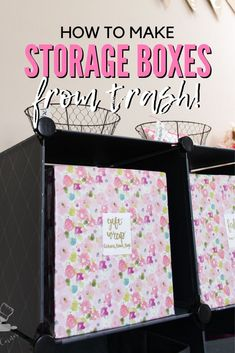 I can't believe these DIY storage boxes are made from cardboard boxes. I love that a little bit of wrapping paper can make trash look like chic storage solutions for cheap. Cardboard Box Crafts, Cardboard Playhouse, Cardboard Crafts, Cardboard Furniture, Playhouse Furniture, Cardboard Castle, Upcycled Furniture, Repurposed Items, Upcycled Crafts