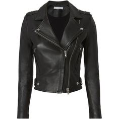 Iro Dylan  Leather Cropped Moto Jacket (4.160 BRL) ❤ liked on Polyvore featuring outerwear, jackets, coats, coats & jackets, black, genuine leather biker jacket, moto jacket, rider jacket, cropped motorcycle jacket and leather jackets