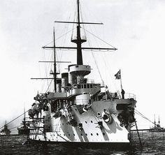 """The Peresviet Class (1898/1902). Peresviet and her two sister ships Pobieda (the name means """"Victory"""") and Osliabya were rather unexceptional second-class battleships of 12,000 tons, carrying a main armament of four 10"""" guns apiece, capable of 18 kts. on trials but, more realistically, 16+ sustained kts. at sea."""
