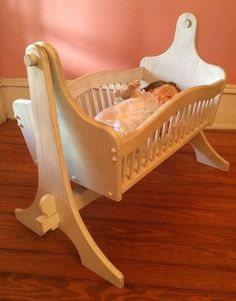 Vintage Handmade Solid Wood Wooden Rocking Baby Doll Cradle With Old Doll by AntiquesviaAyala on Etsy
