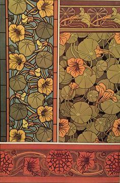 Nasturium Art Nouveau book print , Floral Print , Color Illustration , Illustrations by M.P. Verneuil , Wall Art , Suitable for Framing