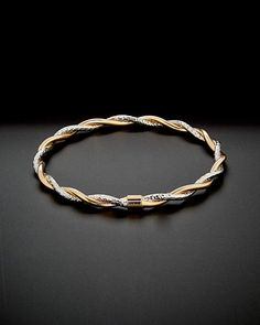 Italian Gold Two-Tone Twisted Bracelet Gold Bangles Design, Jewelry Design, Fashion Rings, Fashion Jewelry, Italian Gold Jewelry, Gold Bracelet For Women, Indian Temple, Chiffon Shirt, Gold Jewellery