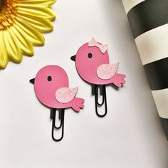 Items similar to Pink Bird Page Clip Planner Clip Bookmark FiloFax Erin Condren Day Planner Kikki K Plum Paper Planner Inkwell Press on Etsy Foam Crafts, Diy Arts And Crafts, Crafts For Kids, Paper Crafts, Paperclip Crafts, Paperclip Bookmarks, Paper Clip Art, Bookmark Craft, Plum Paper Planner