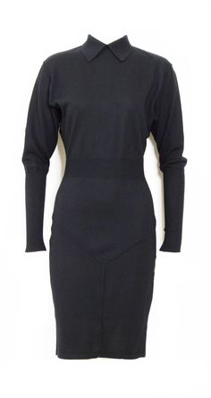 Alaia Jet Black Wool 1980s Dress In Good Condition For Sale In Antwerp, BE