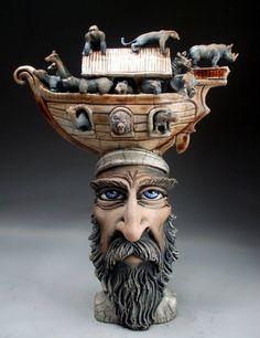 Pottery Sculpture, Sculpture Clay, Sculptures, Ceramic Pottery, Pottery Art, Face Jugs, Mechanical Art, Graf, 3d Fantasy