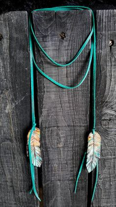 Turquoise feather leather wrap necklace. Western leather wrap necklace. Ombre leather feathers, feather western necklace. Boho, festival fashion, gift for her, cowgirl gift, by Casey Curtis Designs-Necklaces- Handcrafted necklaces; Squashblossom, chokers, antler tips