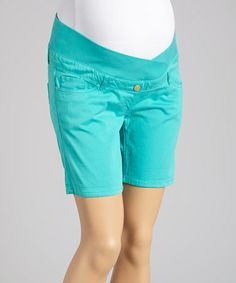 Love this Turquoise Under-Belly Maternity Shorts - Women by Oh! Mamma on #zulily! #zulilyfinds