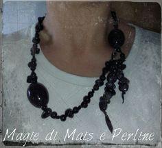 Collana super moderna con perle in ceramica e pietra naturale  #magie_di_mais_e_perline