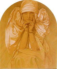 Oil Paintings of 4 Portrait Of The Artists Daughter Jaroslava Czech Art Nouveau distinct Alphonse Mucha Art for sale by Artists Art Nouveau, Art Deco, Inspirational Artwork, Alphonse Mucha Art, Mucha Artist, Jugendstil Design, Moet Chandon, Figure Drawing, Drawing Block