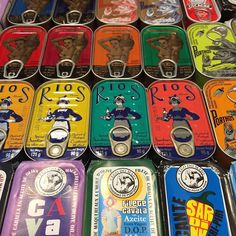 The Portuguese love their canned sardines in all colours. P.S. More about Portuguese eats in the Campo de Ourique food tour video with @TasteofLisboa. Link here: @gettingcloseto
