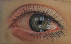 Step by Step drawing of a tearful eye in colour pencil