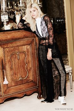 Sofia Richie poses in a lace maxi dress and funnel top with studded leather leggings. // #Celebrity #Editorial
