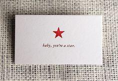 "mini notecard: ""baby, you're a star."". $1.00, via Etsy."