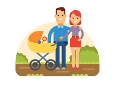 Buy Happy Young Family with Baby in Stroller by on GraphicRiver. Happy young family with a baby in stroller walking in Park. Family Illustration, Flat Illustration, Character Illustration, Vector Illustrations, Free Vector Art, Free Vector Images, Young Family, Family Guy, Baby Album